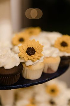 Sunflower Wedding Cake Love Cupcakes, Wedding Cupcakes, Wedding Cake, Cabin Wedding, Rustic Wedding, Austin Texas, Tasty, Sweets, Cookies