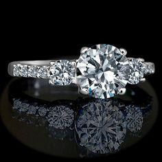 1.5 Ct Round Center (4mm Sides) Simulated Diamond-diamond Veneer® Three (3) Stones Ring. 635r71902