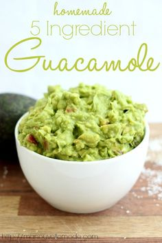 Homemade 5 Ingredient Guacamole -  made 6/27/14, and it is phenomenal. Will be using this recipe frequently