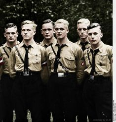 Group portrait of Hitlerjugend boys.