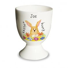 Personalised Easter Bunny Egg Cup - Easter Gift for Boys and Girls. This cute Easter Bunny Eggcup would make a lovely Easter gift for a little boy or girl with that extra personal touch of childs name added. FREE Personalisation and Express Delivery available.