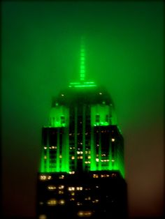Empire State Building, NYC, New York - If this isn't for St. Patrick's Day, I don't know what it's for! We have so many events here & anniversaries, holidays, etc. to mark in lights.)