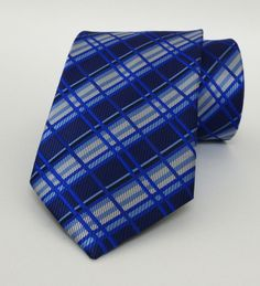 Striped and Plaid Sax Blue Mens Tie 8 cm (3,15 #handmadeatamazon #nazodesign