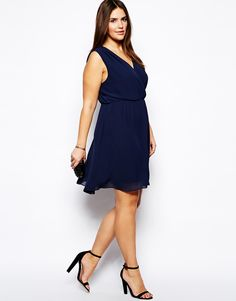 Truly You - Pleated Wrap Front Dress