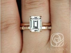 Rosados Box Skinny Norma 9x7mm and Baguettella 14kt Rose Gold Emerald F1- Moissanite and Diamonds Wedding Set