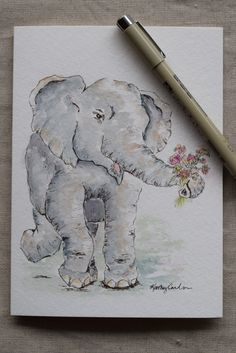 Baby Elephant Never Forgets Watercolor Painted by SunsetPeonies