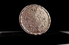 Aztec Silver Mayan Calendar Pendant Brooch - Mexico 925 (Vintage, Ethnic, Tribal, Unique) by JaguarIsle, $65.00