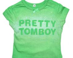 """Cute baby green tee shirt with text """"Pretty tomboy"""". FREE SHIPPING!, $19"""