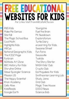 Free educational websites for kids Home Learning, Fun Learning, Teaching Kids, Preschool Learning Activities, Social Emotional Learning, Preschool Lessons, Educational Activities, Summer School Activities, Preschool Assessment