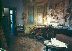 Dark, messy studio. It shows dedication to work through isolation... which is my style :D