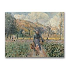 This ready to hang, gallery wrapped art piece features a woman and child in a garden. Camille Pissarro was one of the most influential members of the French Impressionist movement, not only as an arti