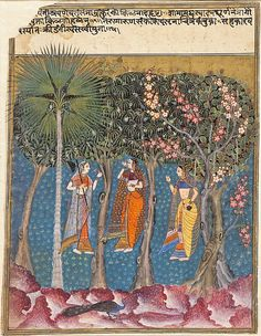 "Gauri Ragini: A Maiden Picking Blossoms from a Tree, Late 16th century. Islamic.  Los Angeles County Museum of Art, Bequest of Edwin Binney, 3rd | This work is featured in our "" Sultans of Deccan India, 1500–1700: Opulence and Fantasy"" exhibition, on view through July 26, 2015. #DeccanSultans"