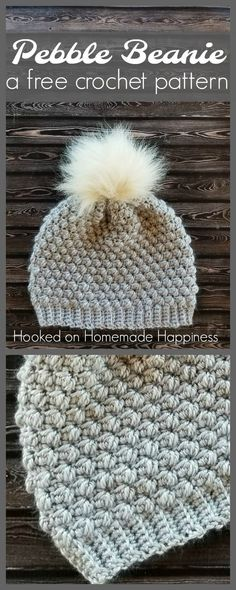 Easy crochet beanie hat using the pebble crochet stitch. Love the fur pom pom!