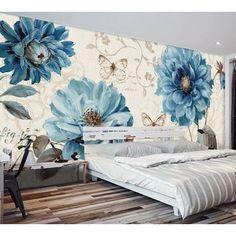 Wall Murals, Wall Art Decor, Wallpaper Wall, Blue Peonies, Butterfly Wall Art, Dream Wall, Beautiful Dream, Cafe Design, Design Design