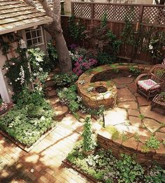 Raised Patio, flagstone, shady back yard. Very cute for a cottage or rustic home
