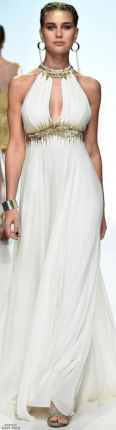 Jelena bin Drai Spring 2016 RTW white maxi dress women fashion outfit clothing style apparel @roressclothes closet ideas
