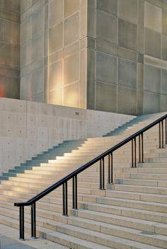 museum Form Architecture, Interior Architecture, Exterior Design, Interior And Exterior, Ramp Stairs, Clean Concrete, Modern Railing, Stair Handrail, Railing Design