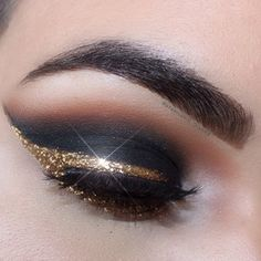 Cut Crease Brown-Black & Gold Glitter Cat Eye Drama ♥❤♡❤♡❤♥