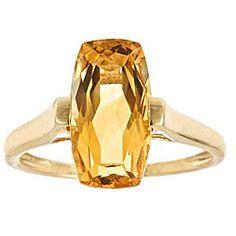 D'Yach 14k Yellow Gold Cushion-cut Citrine Ring