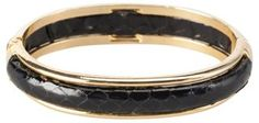 "Vintage (1970s) Black Snakeskin Hinge-Style Goldtone Bracelet  2.5""Lx2""W  Interior 6.5""   $185"