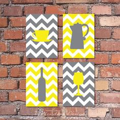 "Kitchen Art Coffee and Wine Chevron Art Prints - Set of (4) - 4"" x 6"", 5"" x 7's"" OR 8"" x 10"" // Grey and Yellow // Modern Kitchen Art Decor"