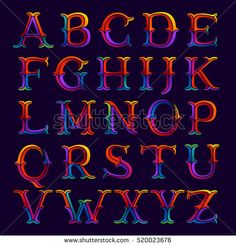 Alphabet logos in elegant multicolor faceted style. Vintage vector typeface for labels, headlines, posters, cards etc.
