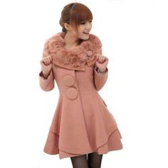 @everbuying  $30.15 Elegant Artificial Rabbit Hair Neck Large Button Embellished Flounce Hem Long Sleeve Solid Color Women's Overcoat #gifts