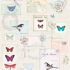 A Beautiful Vintage Postcard Themed Wallpaper The Design Also Features Birds Butterflies Teacups And Teapots Ideal For Bedrooms Lounges
