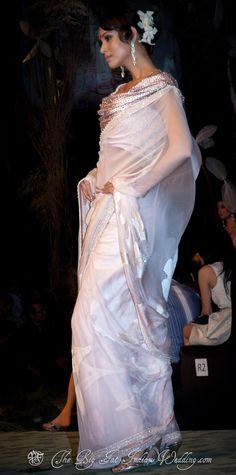 Tarun Tahiliani - White #saree #sari #blouse #indian #outfit #shaadi #bridal #fashion #style #desi #designer #wedding #gorgeous #beautiful
