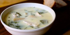 """Soup lemon greek For a new twist on an old standby, try this quick chicken soup inspired by the classic Greek soup, Avgolemono (meaning """"egg-lemon""""). Get the recipe. Healthy Chicken Soup, Greek Lemon Chicken Soup, Vegetarian Chicken, Chicken Soup Recipes, Lemon Soup, Recipe Chicken, Healthy Cooking, Healthy Eating, Cooking Recipes"""