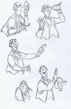 Milt Kahl - Edgar, the butler, from The Aristocrats Character Sketches, Character Design Animation, Character Design References, Character Drawing, Character Concept, Estilo Disney, Arte Disney, Disney Art, Disney Songs