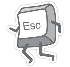 'Esc Button - Escaping' Sticker by DetourShirts Pop Stickers, Bubble Stickers, Anime Stickers, Funny Stickers, Printable Stickers, Homemade Stickers, Snapchat Stickers, Graduation Party Decor, Maker