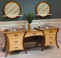 What a fantastic vanity design by The Furniture Guild!