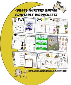 FREE Nursery Rhymes Worksheets for Preschoolers - include printable nursery rhyme sheets plus worksheets to work on math and literacy skills with a fun nursery rhyme theme for toddler, preschool, prek, and kindergarten age kids Free Nursery Rhymes, Nursery Rhymes Preschool, Nursery Rhyme Theme, Preschool Kindergarten, Preschool Learning, Toddler Preschool, Teaching, Learning Time, Kindergarten Reading
