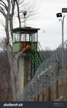Abandoned Guard Tower On A Prison Wall Stock Photo 49755445 ...
