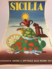 Original Vintage Travel Poster Sicily / Sicilia - ARTASS - Plakat Alt Italien Vintage Italian Posters, Vintage Travel Posters, Der Plan, Sicily, Art Deco Fashion, Bella, Stamps, Romance, Adventure
