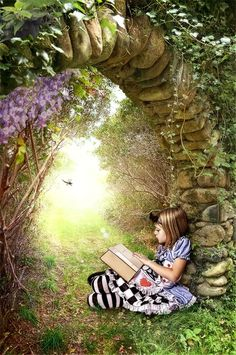 Alice in Wonderland: Reading Art, Woman Reading, Kids Reading, Reading Garden, Reading Books, I Love Books, Good Books, Books To Read, And So It Begins