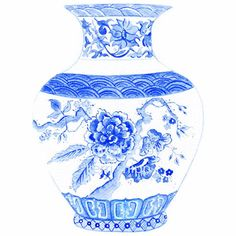 China Blue Vase Print by driftwoodinteriors Blue And White China, Blue China, Deep Space Sparkle, Blue Pottery, White Vases, Stencil Painting, Japanese Prints, Ginger Jars, White Decor