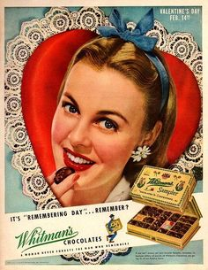 21 Vintage Valentine's Day Ads That Will Remind Us Love Is Awfully Simple Vintage Crafts, Vintage Ads, Vintage Posters, Vintage Signs, Valentine Chocolate, Chocolate Box, Vintage Valentines, Be My Valentine, Valentine Crafts