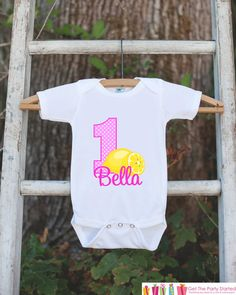 First Birthday Pink Lemonade Outfit - Personalized Lemonade Bodysuit For Girl's 1st Birthday Party - Lemon Bodysuit Birthday Shirt with Name