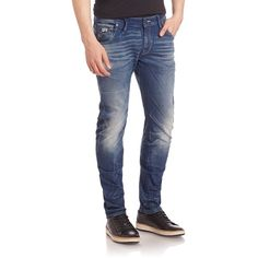 G-Star RAW Arc 3D Slim Fit Jeans ($190) ❤ liked on Polyvore featuring men's fashion, men's clothing, men's jeans, apparel & accessories, medium age, mens stretch denim jeans and mens faded jeans
