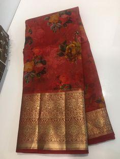 Cotton Saree Designs, Saree Blouse Neck Designs, Half Saree Designs, Saree Blouse Patterns, Bridal Blouse Designs, Pink Saree Silk, Kora Silk Sarees, Wedding Silk Saree, Floral Print Sarees