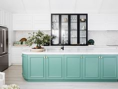 to embrace colour in the kitchen in 2019 Beautiful green kitchen island in kitchen makeover.Beautiful green kitchen island in kitchen makeover. Top Kitchen Designs, Three Birds Renovations, Home Remodeling, Green Kitchen Island, Home, Kitchen Design, Black Kitchens, Green Kitchen, Home Decor