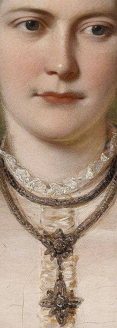 English 19th century, Portrait of a lady, detail