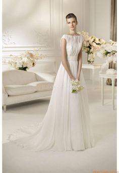 Sommer  Rund-neck Günstige Schlichte Brautkleider 2014 aus Chiffon