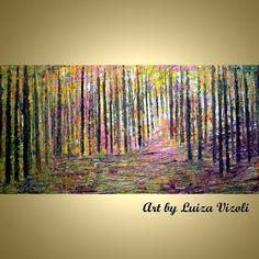 The LIGHT Trees Landscape Original Impasto Oil by LUIZAVIZOLI, $350.00