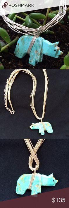 """10 Strand liquid SS & HUGE turquoise bear ❤️ Beautiful large hand carved Kingman turquoise on a ten strand sterling silver necklace.  Approximately 20"""" with a 4-5 """" extender.  Necklace can be worn with different pendants!  Its a beauty!!  Bear is approx 3"""" x 1.5"""" x 1/4"""" Jewelry Necklaces"""