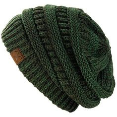 Exclusive Unisex Two Tone Warm Cable Knit Thick Slouch Beanie Cap Slouchy Hat, Knit Beanie Hat, Free Crochet, Knit Crochet, Crochet Hats, Cable Knit Hat, Green Hats, Crochet Designs, Knitted Hats