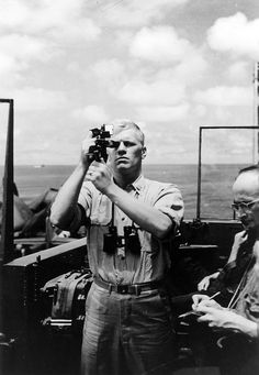 Photograph of Gerald R. Ford, Jr. Using a Sextant on the USS Monterey. Ca. 1944.