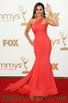 Chiffon Sofia Vergara Red Mermaid Evening Gowns 2012 Emmys Awards Red Carpet Dress,Chiffon Sofia Vergara Red Mermaid Evening Gowns 2012 Emmys Awards Red Carpet Dress